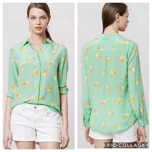 EUC Leifsdottir Seaside Bird Print Silk Shirt